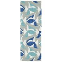 Indoor/Outdoor Beachcomber Seafish Blue Rug - 2' x 6'