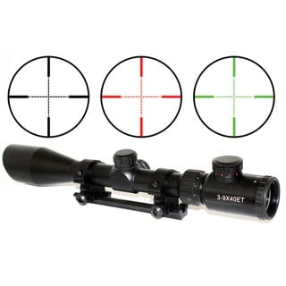 3-9x40 Black Rifle Scope Red-Green Illumination With Built-in Cut Sunshade For Remington 700 Short Action