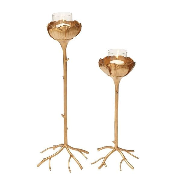 Fancy Metal Glass Candle Holder (Set Of 2)