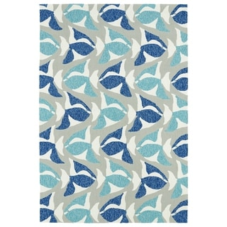Indoor/Outdoor Beachcomber Seafish Blue Rug (7'6 x 9')