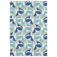 Indoor/Outdoor Beachcomber Seafish Blue Rug - 7'6 x 9'