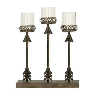 Chic Metal Glass Candle Holder - Thumbnail 0