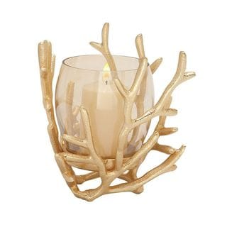 Awesome Aluminum Glass Gold Candle Holder