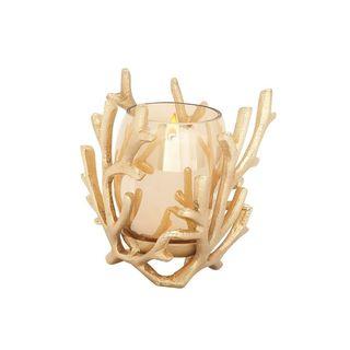 Designer Aluminum Glass Gold Candle Holder