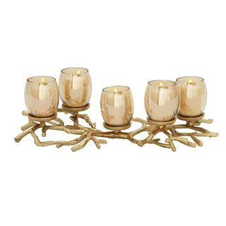 Pine Canopy Bloodroot Aluminum Glass Candle Holder