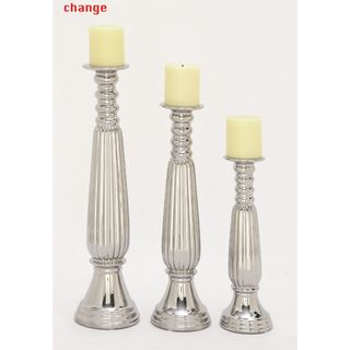 Elegant Ceramic Silver Candleholder (Set Of 3)