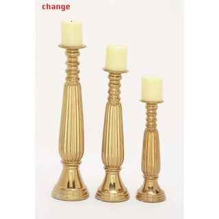 Well-Designed Ceramic Gold Candleholder (Set Of 3)