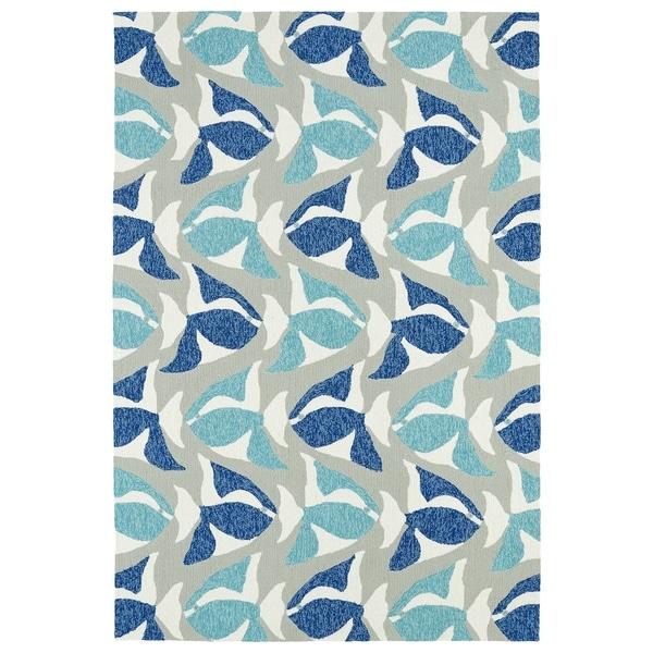 Indoor/Outdoor Beachcomber Seafish Blue Rug - 9' x 12'