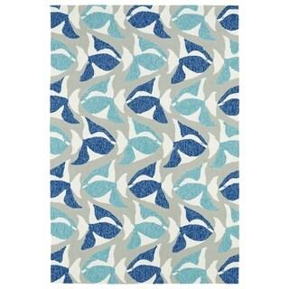 Indoor/Outdoor Beachcomber Seafish Blue Rug (9' x 12')
