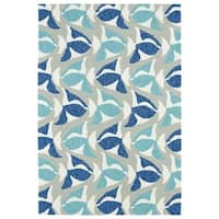 Indoor/Outdoor Beachcomber Seafish Blue Rug - 9' x 12'