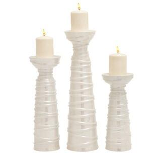 Elegant Ceramic Polyethylene Candle Holder (Set Of 3)