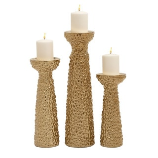 Fascinating Ceramic Gold Candle Holder (Set Of 3)