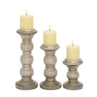 Unique Set Of Three Glass Candle Holder