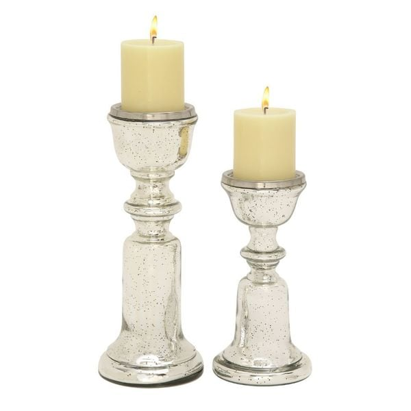 Enthralling (Set Of 2) Glass Candle Holder