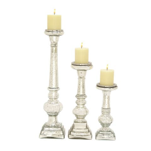 Silver Orchid Olivia Three Glass Candle Holders