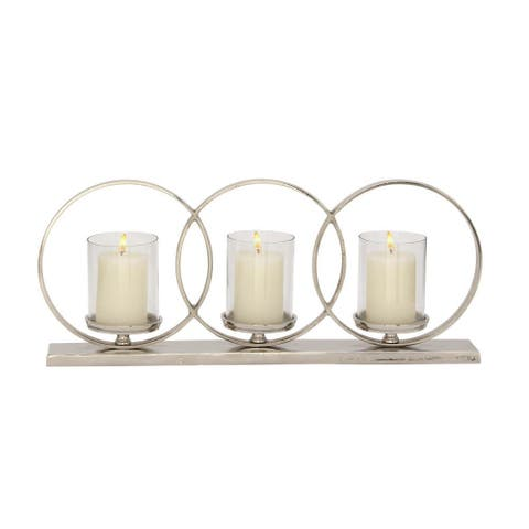 Strick & Bolton Buri Aluminum Glass Candle Holder