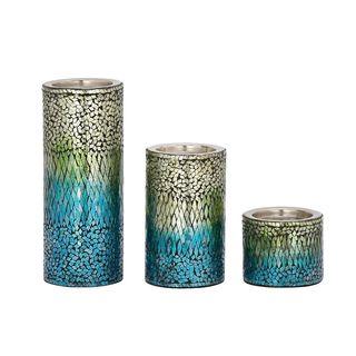 Eye-Catching Set Of Three Metal Mosaic Candle Holders