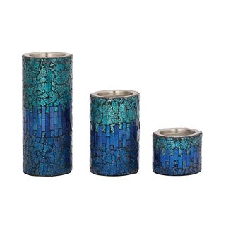 Sassy Set Of Three Metal Mosaic Candle Holders
