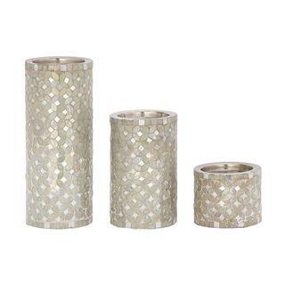 Silver Orchid Olivia Metal Mosaic Candle Holders (Set of 2)