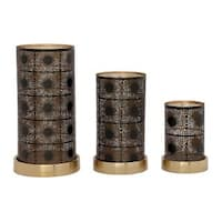 The Curated Nomad Lotta Set of 3 Gold Metal Candle Holders