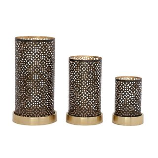 Unique Set Of Three Metal Candle Holder Silver