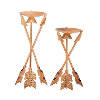 Gorgeous (Set Of 2) Metal Copper Candle Holder