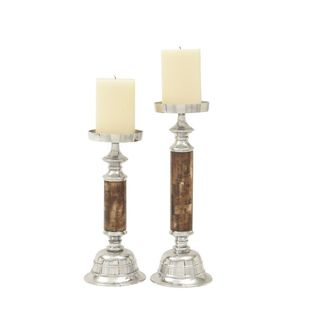 Alluring Aluminum Shell Candle Holders (Set Of 2)