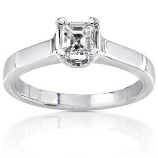 Annello by Kobelli 14k Gold 1/2ct TDW Asscher Diamond Solitaire Ring