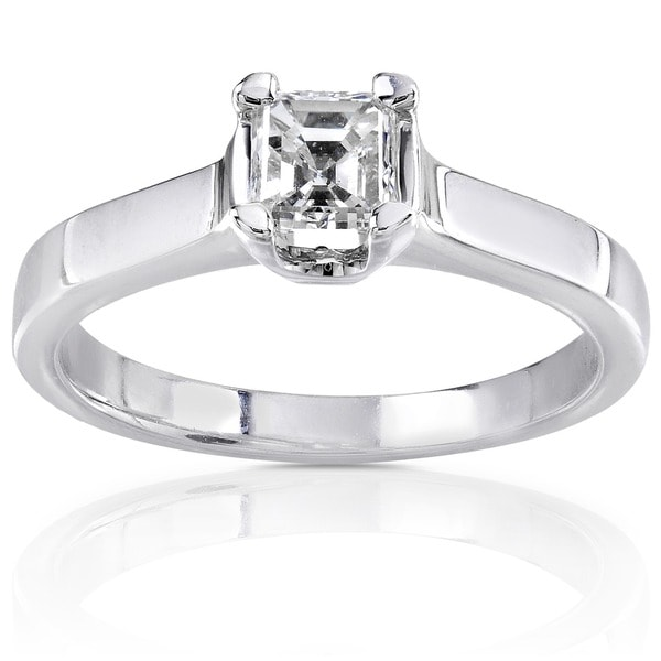 Annello by Kobelli 14k Gold 1/2ct TDW Asscher Diamond Solitaire Ring