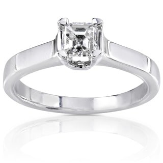 Annello by Kobelli 14k Gold 1/2ct TDW Asscher Diamond Solitaire Ring (H-I, SI1)