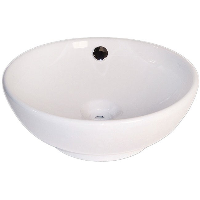 Shop Fontaine Large Round Porcelain Vessel Sink Free Shipping