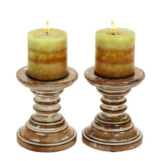 Copper Grove Haynes Wood Candle Holder Stands (Set of 2)