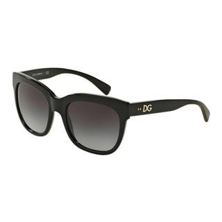D&G Women's DG4272 30038G Black Plastic Square Sunglasses