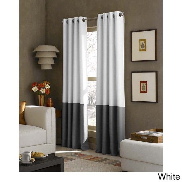 Kendall Color Block Grommet Curtain Panel Free Shipping