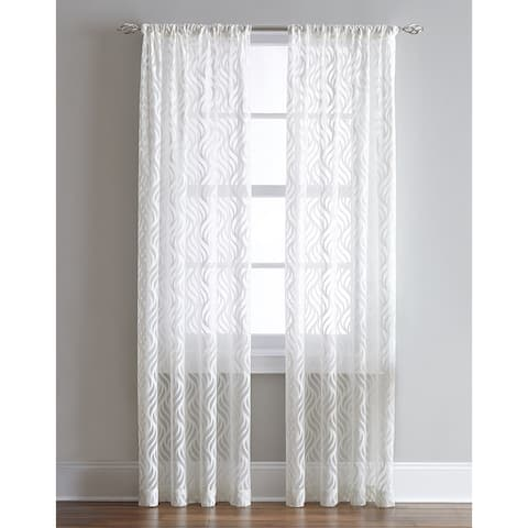 Lyric Antique/White Sheer Ogee Print Curtain Panel