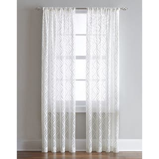Lyric Antique/White Sheer Ogee Print Curtain Panel|https://ak1.ostkcdn.com/images/products/11825650/P18730807.jpg?impolicy=medium