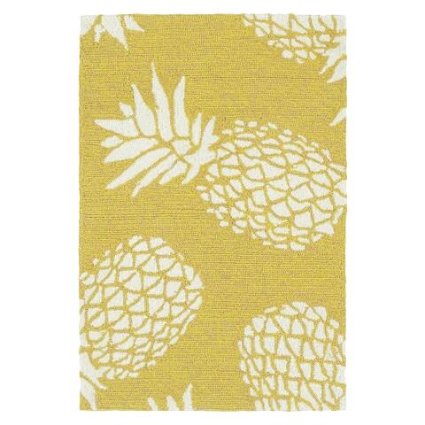 Indoor/Outdoor Beachcomber Pineapple Gold Rug - 2' x 3'