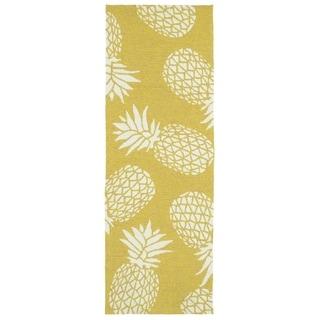 Indoor/Outdoor Beachcomber Pineapple Gold Rug (2' x 6')