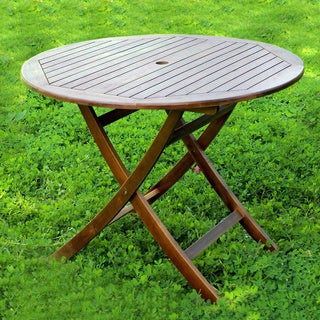 International Caravan Acacia 38-inch Round Folding Table with Curved Legs (As Is Item)