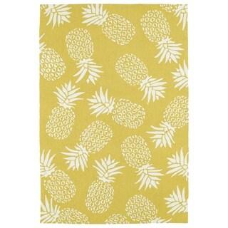 Indoor/Outdoor Beachcomber Pineapple Gold Rug (3' x 5')