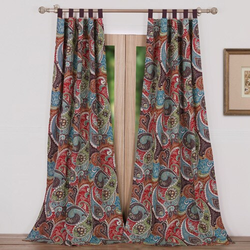 Greenland Home Fashions Tivoli Paisley Lined Curtain Panel Pair