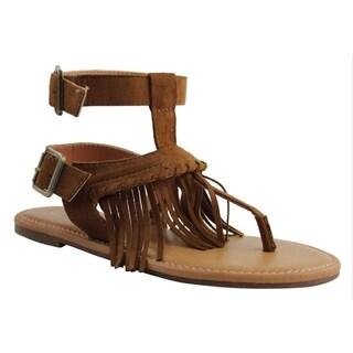 Celebrity NYC Women's Minnie Taupe/Black/Cognac Faux Suede Sandals