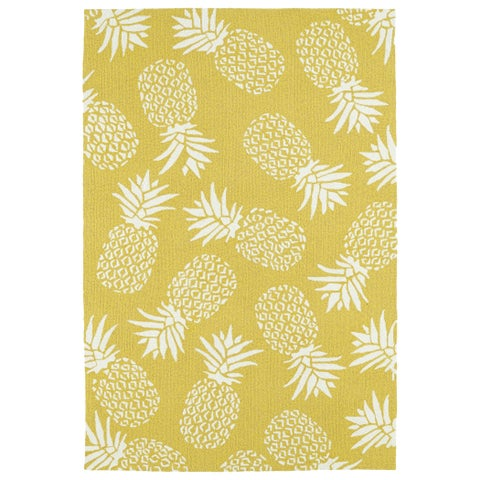 "Indoor/Outdoor Beachcomber Pineapple Gold Rug - 7'6"" x 9'"