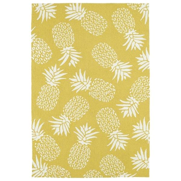 Indoor/Outdoor Beachcomber Pineapple Gold Rug - 9' x 12'