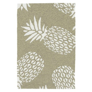 Indoor/Outdoor Beachcomber Pineapple Light Brown Rug (2' x 3')