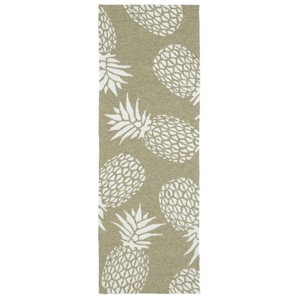 Indoor/Outdoor Beachcomber Pineapple Light Brown Rug (2' x 6') - 2' x 6'