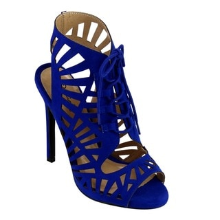 Qupid GLEE-248 Women's Laser Cut Out Open Peep Toe Corset Lace-up Stiletto Heel Dress Sandals