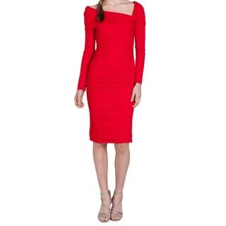 Badgley Mischka Women's Red Ruched Size 14 Dress