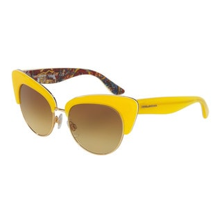 D&G Women's DG4277 30352L Yellow Plastic Cat Eye Sunglasses