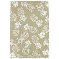 Indoor/Outdoor Beachcomber Pineapple Light Brown Rug (5' x 7'6) - 5' x 7'6